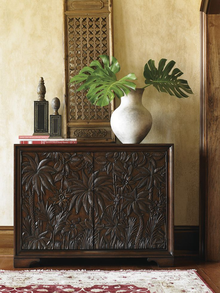 Carved Palm Tree Chest | Tommy Bahama Home #CoastalDesign #TropicalChest