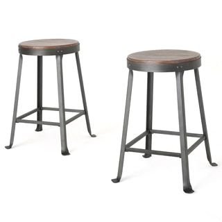 For Christopher Knight Home Emery Brown Weathered Wood Counter Stool Set Of 2