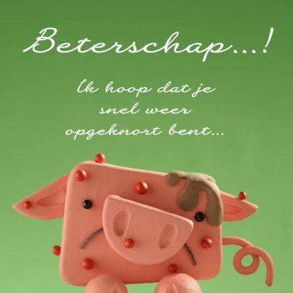 Design Get Well Soon Card / Beterschapskaart by Clay Cards www.kaartje2go.nl