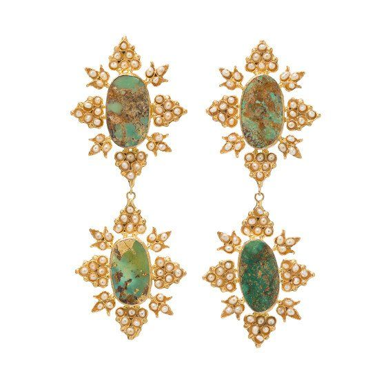 Cleon Earrings Gold & Turquoise, Christie Nicolaides, $199