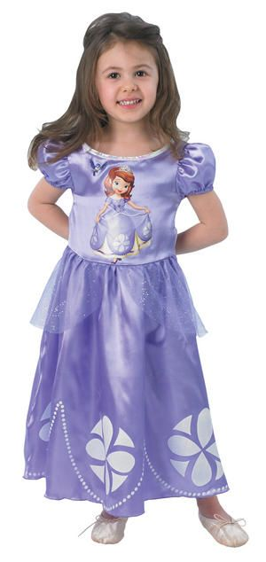 Fulfill your little ones sweetest dreams with this adorable girls Sofia costume - all new Princess fancy dress instock now
