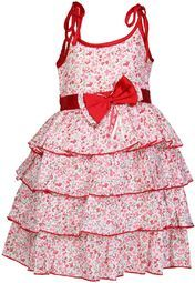 Your little princess will surely love to wear this beautiful frock from the house of Anna Maria. The bow detailing and attractive floral print all over make this red frock look gorgeous. The frills on the front will further lend an adorable look to your fairy. Made from cotton, this strappy frock is perfect for summers.