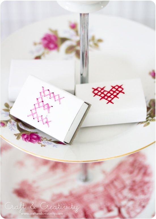 Cross-stitched matchbox - stitch directly on the box :)