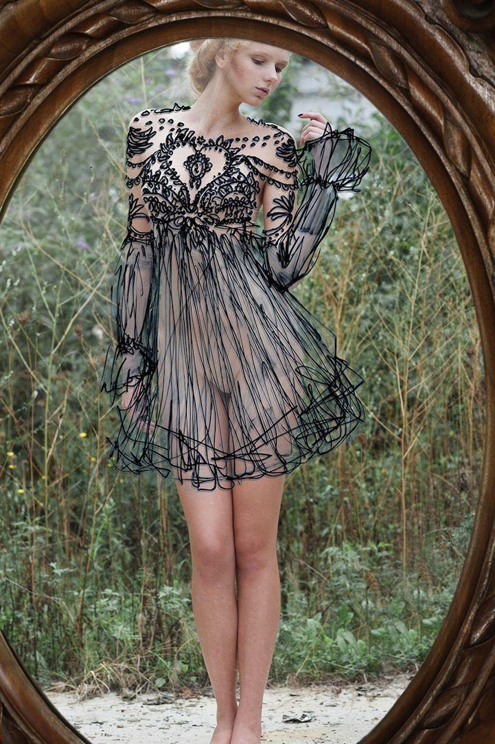 Elaborate Dresses Hand-Drawn on Perfectly Aligned Mirror - My Modern Metropolis