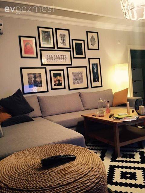 Duvar dekorasyon, Gri, Halı, Köşe koltuk, Orta sehpa, Salon, Sarı, Siyah-beyaz