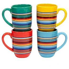 Festive and bright, the Pinata Collection by Nancy Green will be a vibrant welcome to guests at your next fiesta. The colorful stripes give these assorted mugs plates a southwestern look. These ceramic mugs are dishwasher-safe. Pair with other pieces from the Certified International Pinata Collection to complete the look.