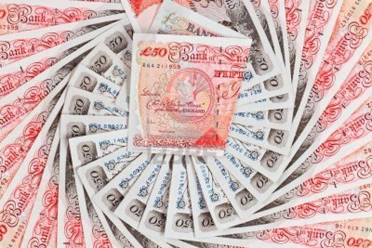 50 pound sterling bank notes closeup
