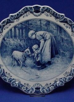 "Oval Wall Plaque ""Mother with Baby"" Royal Delft Blue"