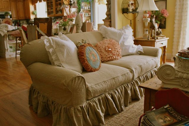 Lorraine loves ruffles and pink and antiques. She wanted to change it up a bit with her couch.         Gold couch---BEFORE        Couch-- A...