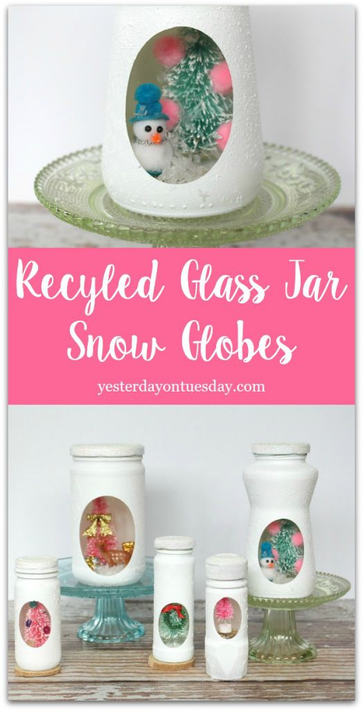 Transform old spice, salsa and sauce jars into charming snow globes for Christmas decor