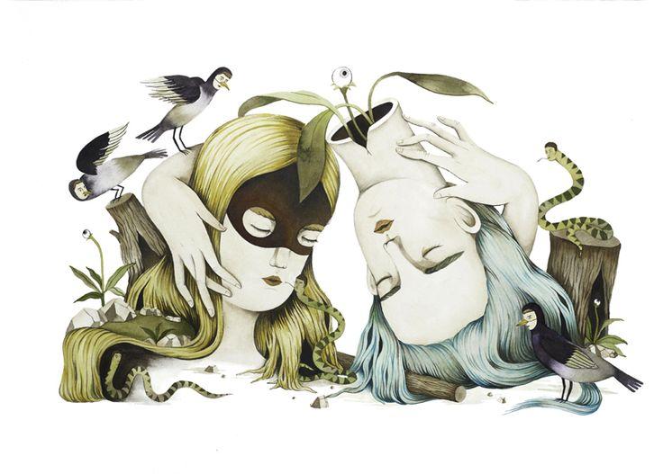 interesting illustrations by Andrea Wan http://designwrld.com/mirror-mirror-illustrations-by-andrea-wan/