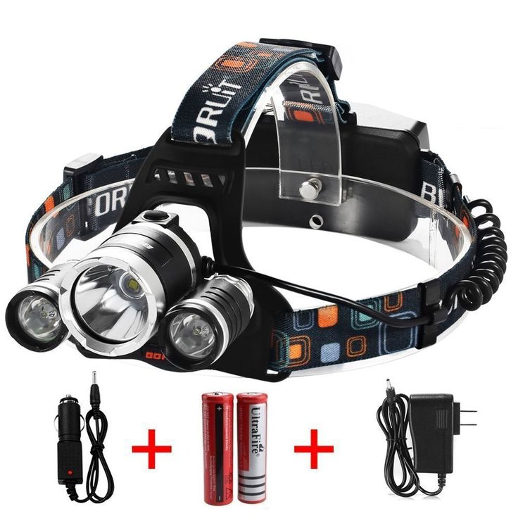 Noza Tec Led Headlamp, 5000Lumen 4 Mode Head Lamp 3 CREE XML T6 Waterproof Headlight with 2*18650 Rechargeable Battery   AC Charger   Car Charger For Outdoor Camping Biking Hunting Fishing *** Learn more by visiting the image link.