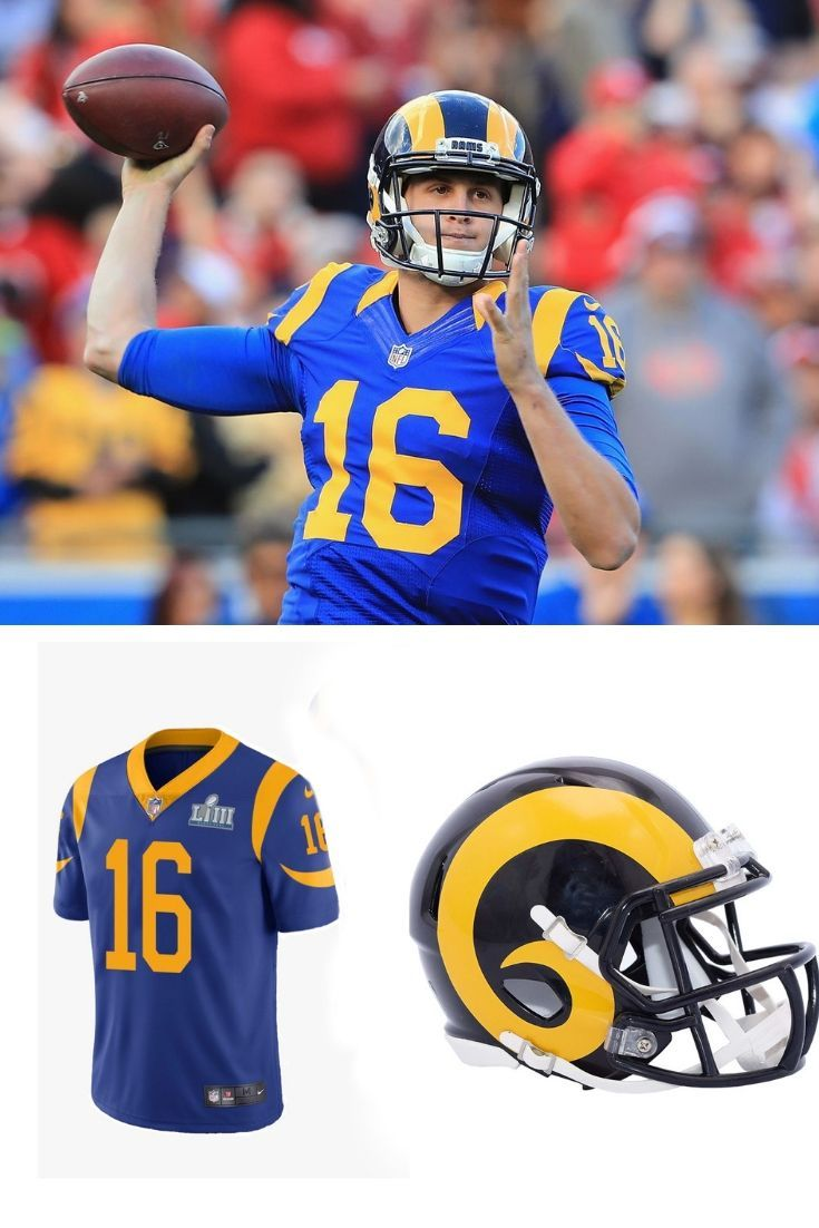 Jared Goff Los Angeles Rams Home Football Helmets Football Nfl Gear