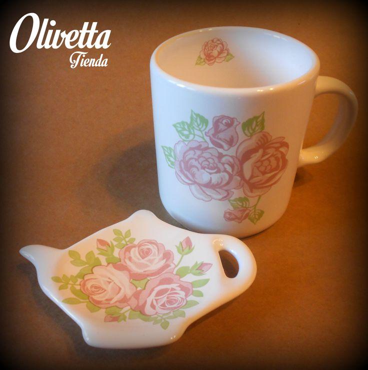 """Mug y Porta saquito de Té """"Rosas"""""""