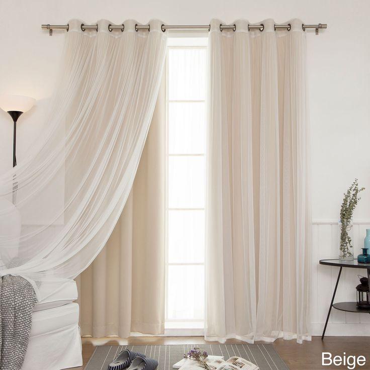 Aurora Home MIX & Match Curtains Blackout Tulle Lace Sheer Bronze Grommet 4-piece Curtain Panel Pair (Beige, 84), Size 52 x 84