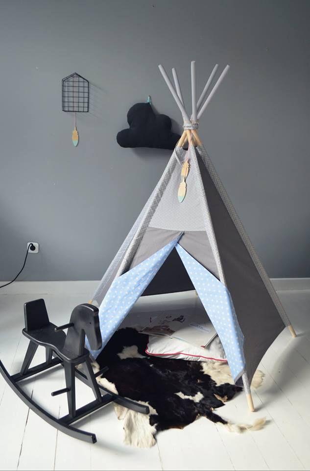 littlenomad teepee tipi wigwam play tent handmade white gray blue kidsroom https://www.facebook.com/HelloLittleNomad