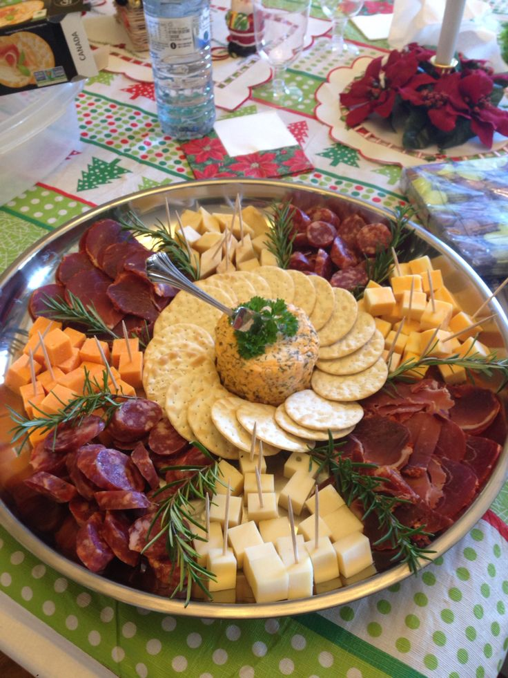Christmas meat, cheese and cracker tray. Rosemary garnish. Great for Christmas dinner! (xmas food platters)