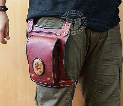 """Мужская кожаная сумка на бедро ручной работы, """"Boroda Design"""""""