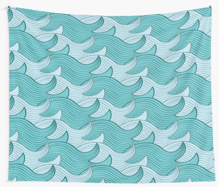 California Surf Wave Pattern Illustration by Gordon White | California Surf Wall Tapestry Available in 3 Sizes @redbubble --------------------------- #redbubble #stickers #california #losangeles #la #surf #wave #cute #adorable #pattern #walltapestry #tapestry #homedecor #bedroom #livingroom