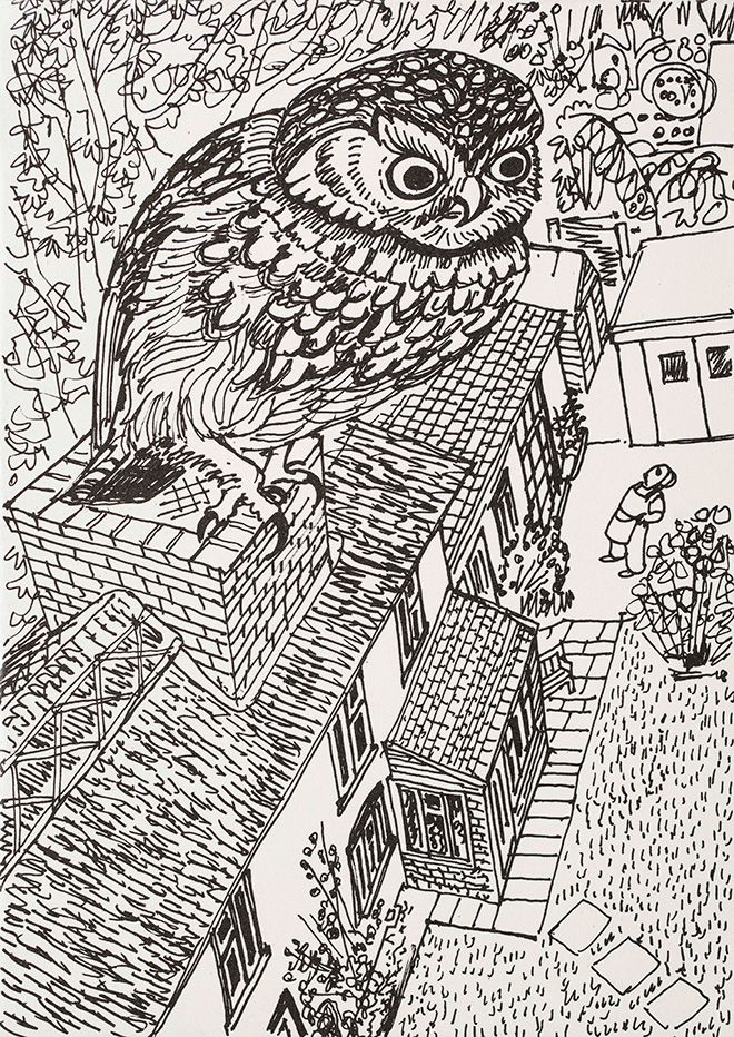 Rena Gardiner (a self-portrait of the artist and printmaker, staring up at a little owl on the chimney of The Thatch Cottage, Tarrant Monkton, Dorset, where she lived)