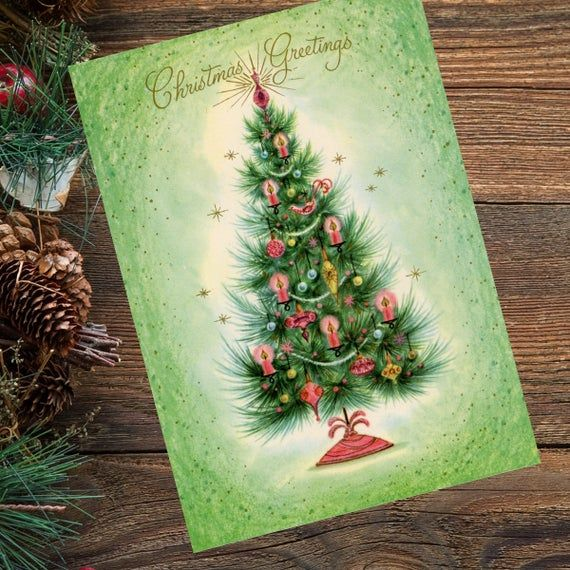 Pink Decorated Christmas Tree Christmas Card 5x7 Etsy Christmas Tree Decorations Vintage Christmas Cards Christmas Cards