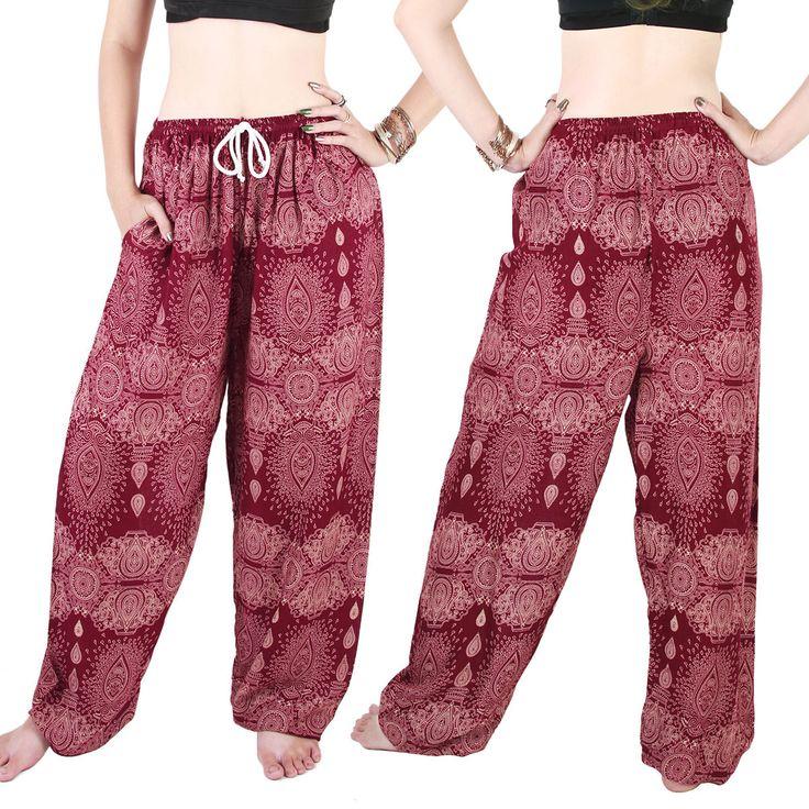 Harem Trousers - Aladdin Smock Pants Hippie Boho Jumpsuit Floral Blue Al081S