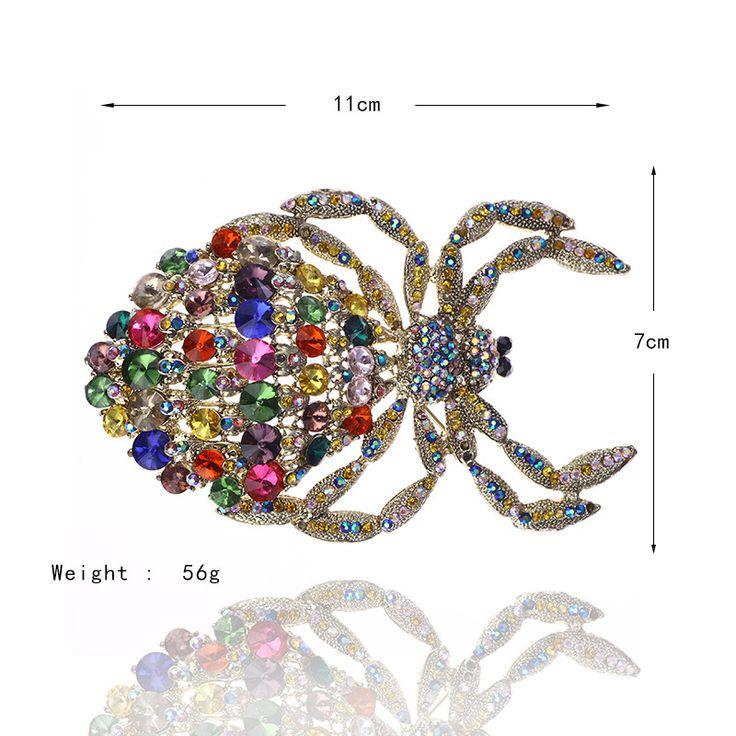 2016 Новые Классические Роскошные Старинные Ювелирные Изделия Горный Хрусталь Кристалл Позолоченный Паук Животных Большой Брошь Pin Подвеска 4 цвет Лацкан Pin # bo108 купить на AliExpress