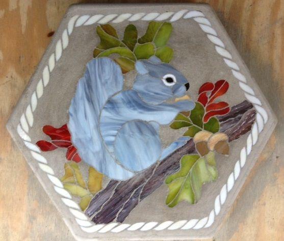 "Grey Squirrel 16"" Stained Glass Garden Stone"
