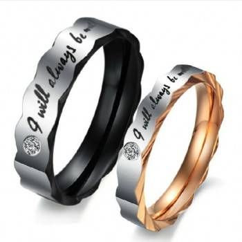 Titanium Steel Promise Ring for Couples with Words I will always be with you