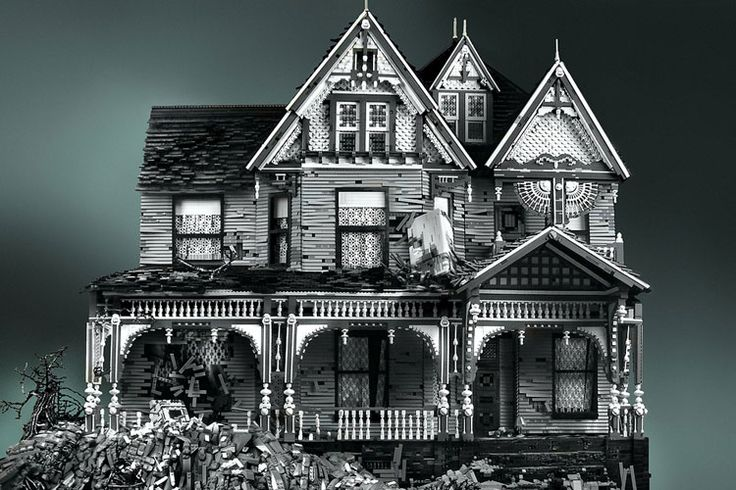 The horror house made out of - Legos! I will do this someday when I'm old and retired with plenty of time on my hands...