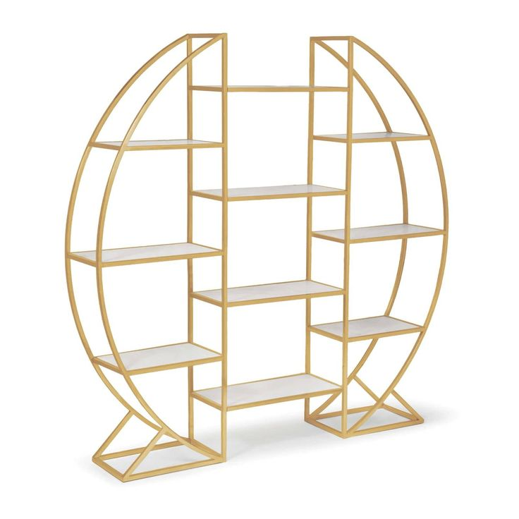 Command a sleek visual display with our Hoop Etagere. Finished in natural brass with white marble shelves, it elevates your space to a luxurious place. Dimensions (Inches): 79H x 79.5W x 14D. Iron Furniture, Cheap Furniture, Online Furniture, Rustic Furniture, Furniture Decor, Living Room Furniture, Modern Furniture, Furniture Design, Antique Furniture