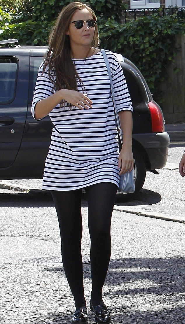 Jacqueline Jossa turns heads in blue and white striped minidress #dailymail