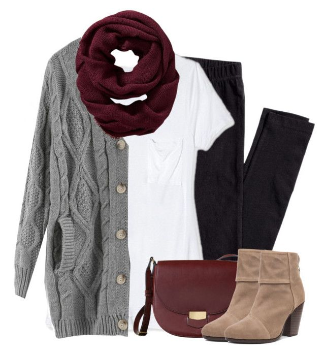 """Gray cardigan, burgundy scarf with leggings"" by steffiestaffie ❤ liked on Polyvore featuring H&M, Target, Old Navy and rag & bone"