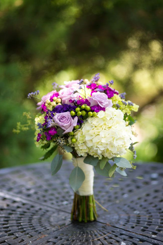 Purple & Green Wedding Bouquet | Feast at Round Hill Wedding With Color Of The Year Radiant Orchid Inspiration | Photograph by Matt Versweyveld  http://storyboardwedding.com/feast-at-round-hill-wedding-with-color-of-the-year-radiant-orchid-inspiration/