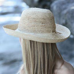 麦わら帽子(ストローハット)UVカット帽子(女性用)-レディースサンハット-クローシェブレトン※紫外線カット(UVカット)最高値のUPF50+