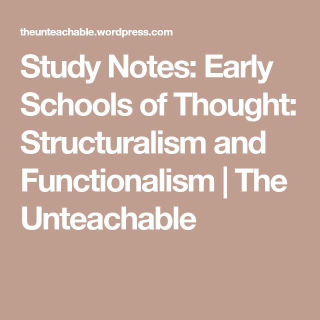 Study Notes: Early Schools of Thought: Structuralism and Functionalism | The Unteachable