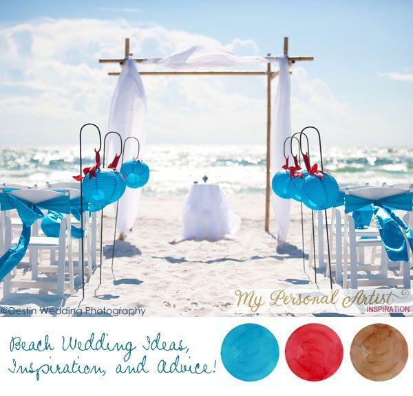 Wahouuu !!!! Magnifique !!!   Beach wedding colors : red, aqua, and mocha.