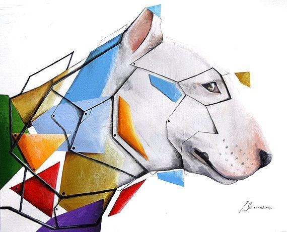 Geometric bulterier 50x40 by SztuknijSie on Etsy