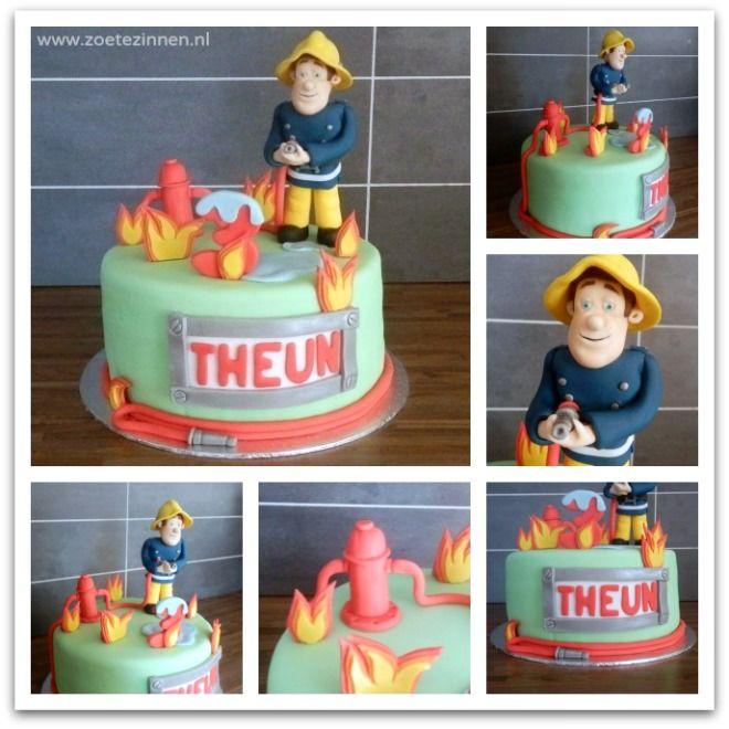 Een brandweerman Sam taart met uitleg hoe Brandweerman Sam geboetseerd is. (Fireman Sam cake with a how-to of Fireman Sam made of fondant).