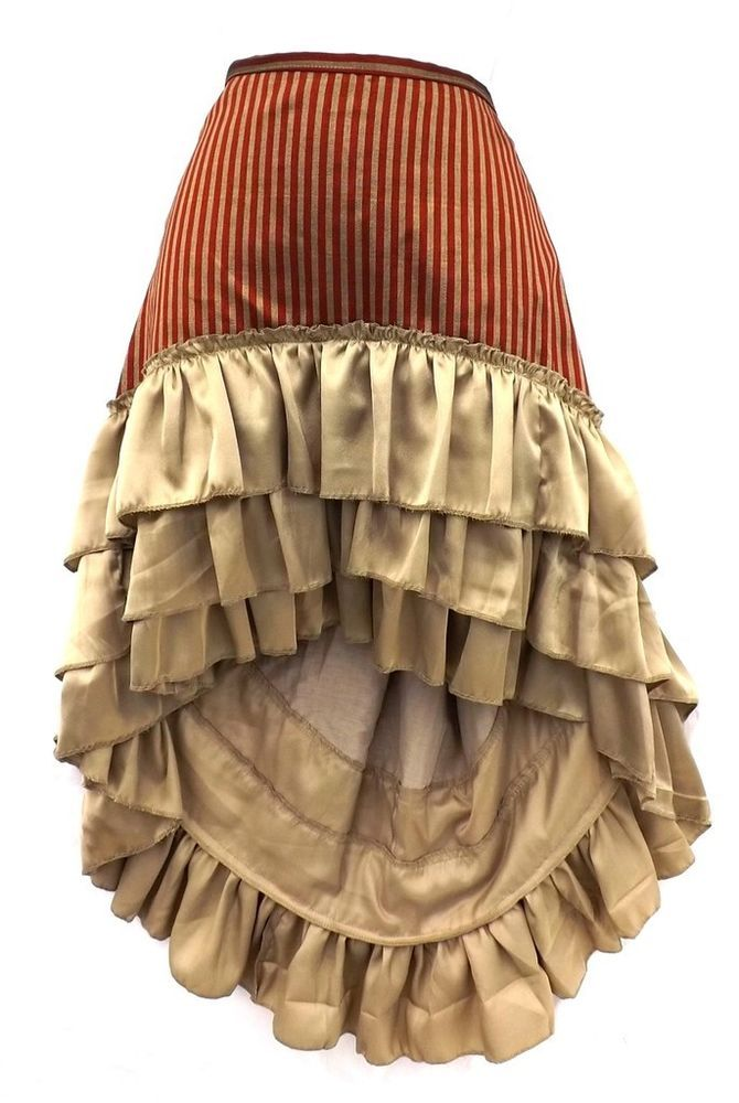 Steampunk Victorian Renaissance Pirate Costume Red Bronze Striped Ruffle Skirt #Kashi #Skirt