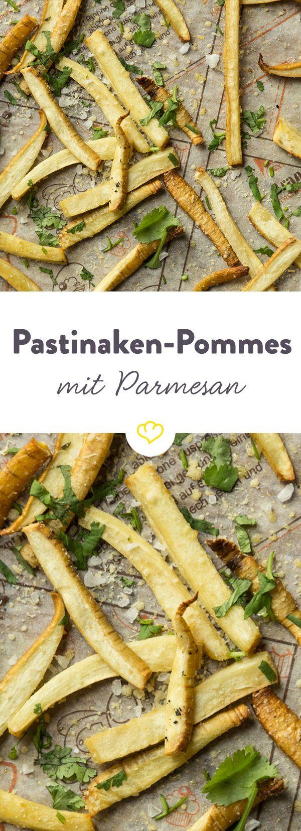 Diese kleinen Pastinaken-Knusperlinge sind ein super Ersatz zu herkömmlichen Kartoffelpommes. Mit geschmolzenem Parmesan on Top unschlagbar.