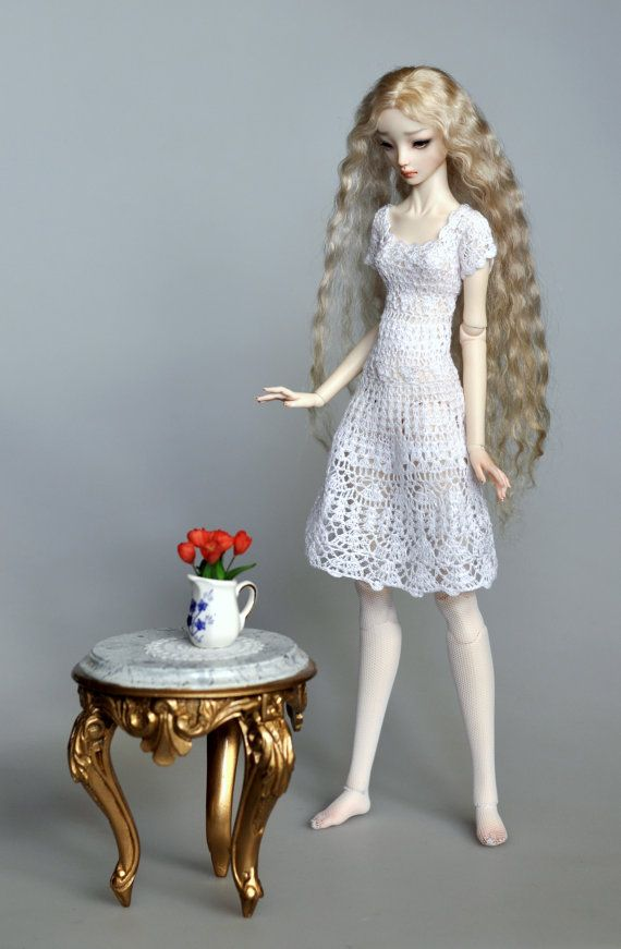 Crochet short dress for bjd msd doll by DressForDoll on Etsy, $89.00