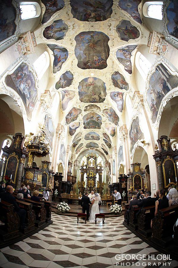 Wedding in Prague - Strahov monastery wedding ceremony - Prague wedding photography, see more at www.georgehlobil.com #wedding #weddingvenues #praguewedding #churchwedding #prague #overseaswedding #weddingpictures #weddingphotographer #strahovmonastery #gettingmarried