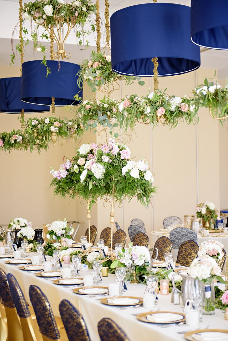 150 best hanging flowers backdrops images on pinterest for Wedding reception centrepieces