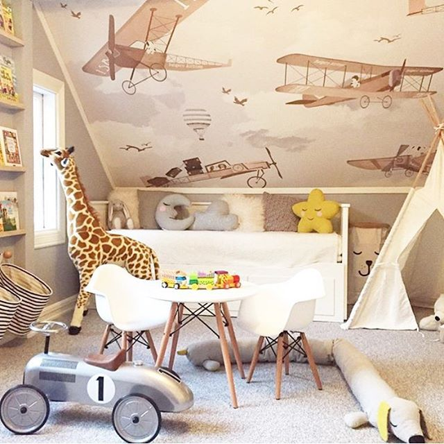 Let their imaginations take flight! This @littlehandswallpaper airplane wallpaper is so perfect for this slanted nursery wall! Happy #wallpaperwednesday! #wallpaper #kidswallpaper