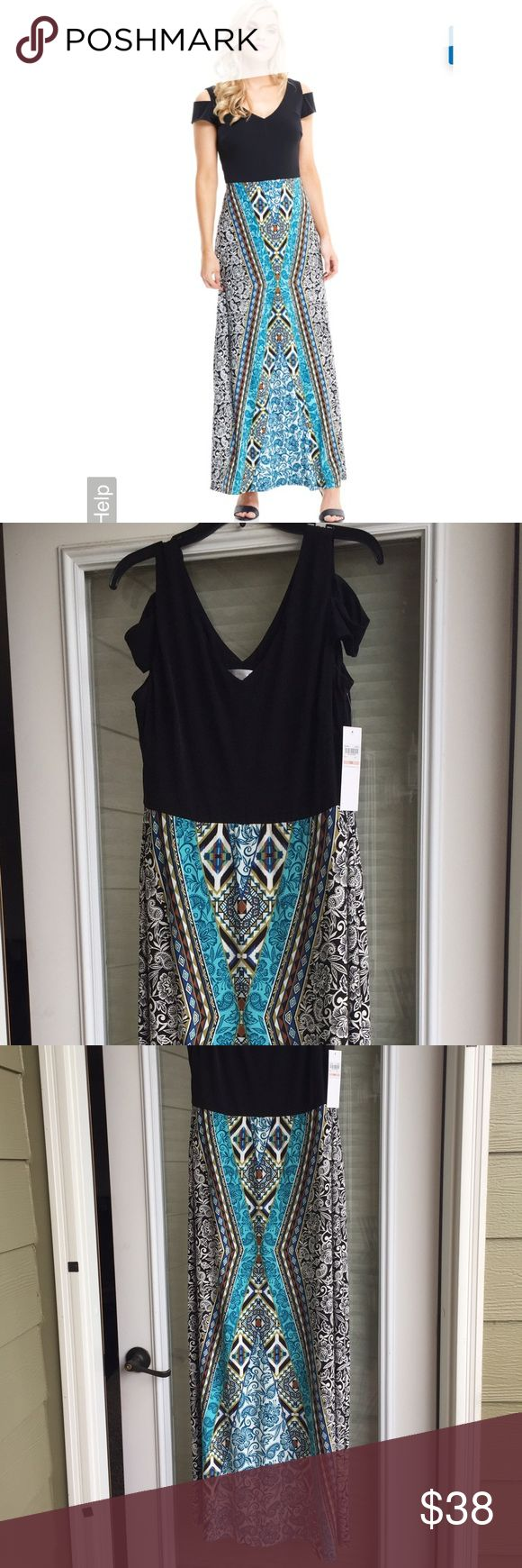 London Times Layla Maxi - Blue Dress size 12 Layla features a black top with a v-neckline and cut-out sleeves and a maxi bottom with bold aztec prints. It makes for a chic yet subtle weekend look. London Times Dresses Maxi