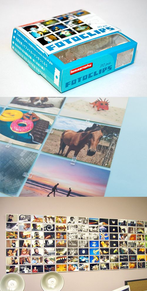 Fotoclips help you create big ol' murals from your prints. Grab a pack (cuz they're finally back in stock!) and get your photos up on the wall.