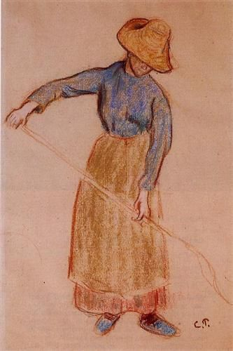Peasant with a Pitchfork - Camille Pissarro