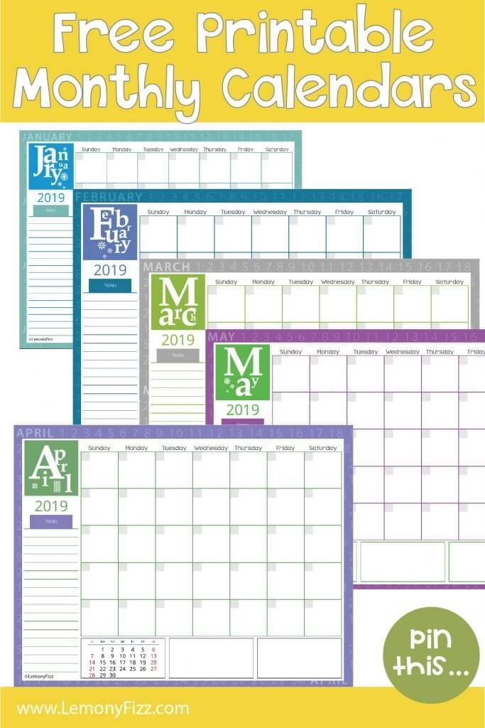 Get Your Free Copy of 2019 Monthly Calendar Pages Now Weekly