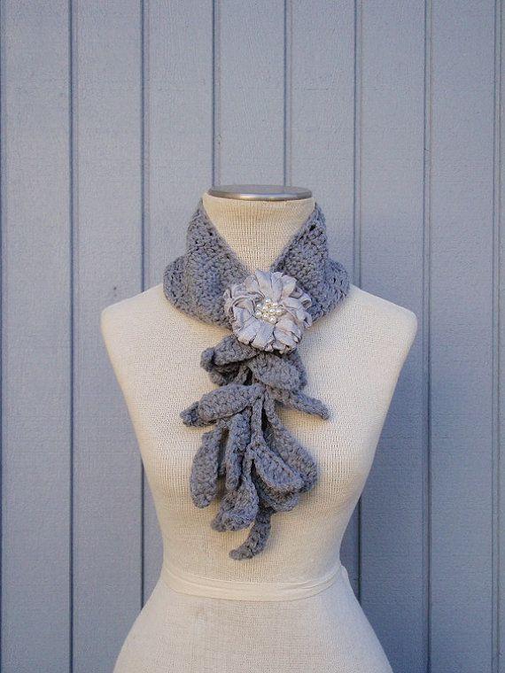 Sciarpa grigio sciarpa all'uncinetto fiore sciarpa